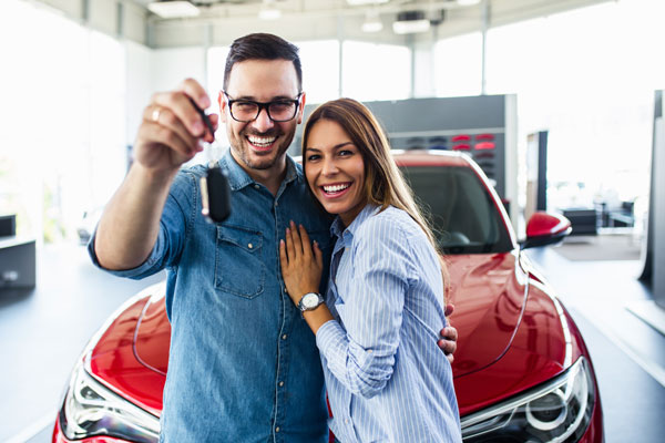 Couple with car keys