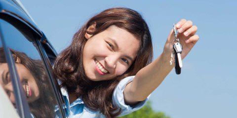 Girl holding keys